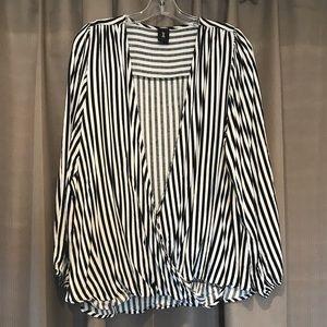Black & White Striped Surplice Top
